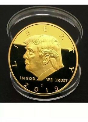 New 2019 King Cyrus Donald Trump Gold Plated Coin Jewish Temple Jerusalem Israel