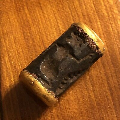 Ancient Bactrian Intaglio Bead Stone Signet Antiquity Artifact Gold Gilded Old