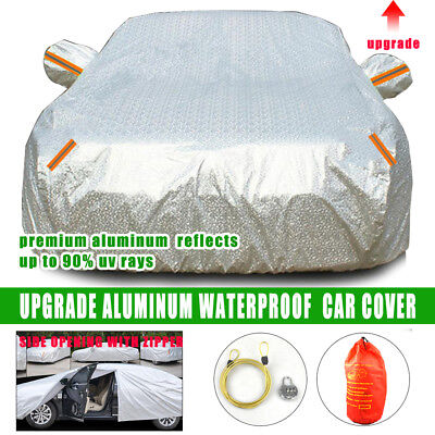 Aluminum 3 Layers Double thick Waterproof Car Cover rain resistant UV dust cover