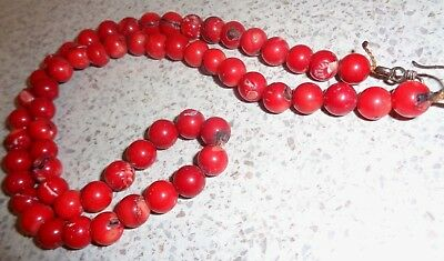 RUSTIC NATURAL  Coral Necklace,Hand Knotted Quality Round Beads 18 inches  long