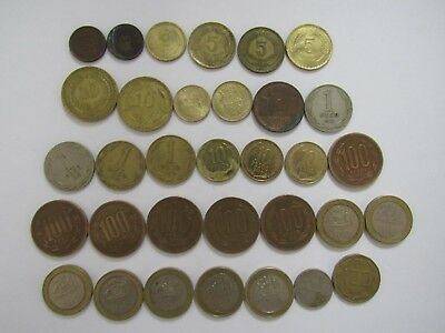 Lot of 33 Different Chile Coins - 1943 to 2015 - Circulated