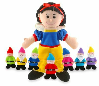 Tellatale Snow White Hand Puppet & Seven Dwarves Finger Puppets By Fiesta Crafts
