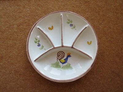Quimper Hand-Painted Nibbles/Dips Dish
