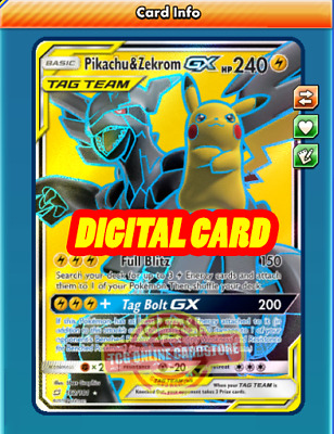 Digital Card Pikachu /& Zekrom GX 33//181 for Pokemon TCG Online PTCGO