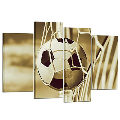 Kreative Arts Vintage 4 Pieces Soccer Sports Canvas Wall Art Prints Stretched to