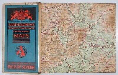 1945 old vintage Bartholomew's Half-inch revised contoured map 18 Vale of Severn
