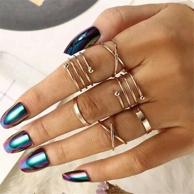 6 pcs Shiny BEACH PARTY  Polish 'GOLD  Band Midi Mid Finger Knuckle Ring 6GN