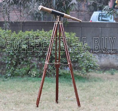 Nautical Maritime Solid Brass Leather Telescope Antique Home Decor Marine Lens