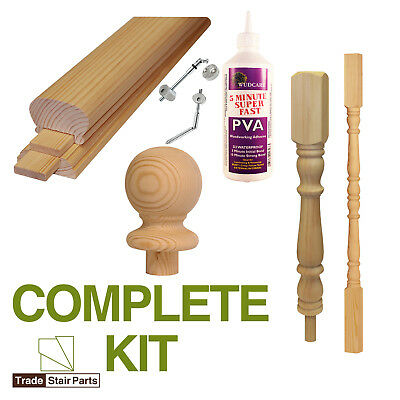 STAIRCASE KIT - LOWER BANNISTER - 2.4 metres - Post to Ceiling Traditional Pine