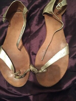 8c0ca9b54 Ladies Savannah Collection Toe Post Sandals in Gold with Embelishments - UK  9