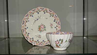 Scarce 18th Keeling Twist Fluted 185 Famille Rose Tea Bowl and Saucer 1785+