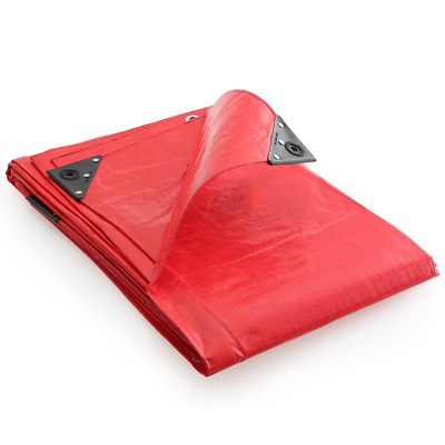 GroundMaster 200gsm Super Red Tarpaulin Heavy Duty Waterproof Cover Sheet