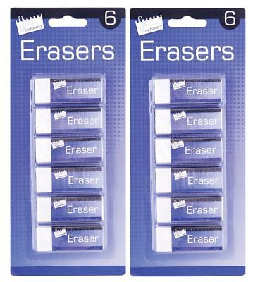 12Pc Long White Rubber Eraser Office School Art Drawing Stationery Supplies