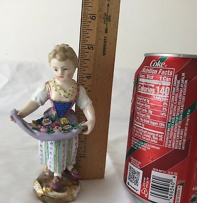 Antique Meissen Figurine Lady Holding Apron with Flowers- Very OLD MARK!
