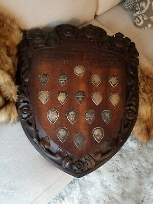 Amazing Arts and Crafts English football soccer sterling and wood antique trophy