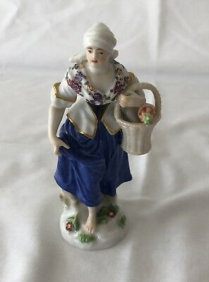 Antique Meissen Figurine Lady Holding Basket with Carrots
