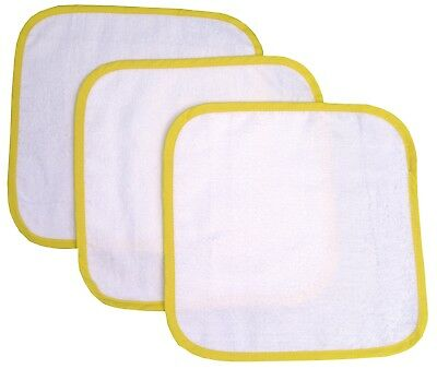3 Pack of Baby Soft White Cotton Flannels Wash Face Cloths