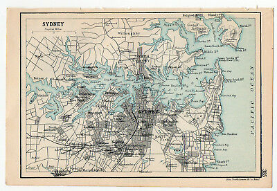 Map Of Sydney Australia Antique
