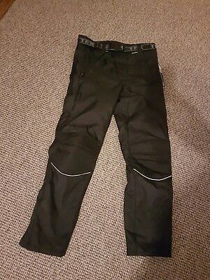 Texpeed Mens Black Waterproof Motorcycle Motorbike Over Trousers CE Protection