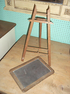 Antique Writing Childs Slate Writing Board With Easel
