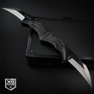 BLACK Twin Double Blade BAT Spring Assisted Pocket Knife KARAMBIT Style