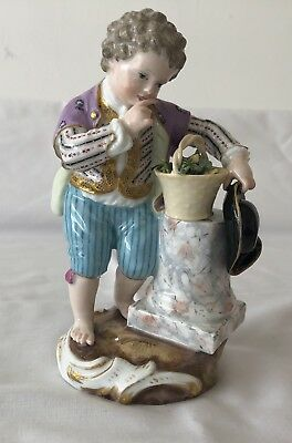 Antique Meissen Figurine Pirate Boy with Gold Vest, Black Hat and Basket- LOOK!