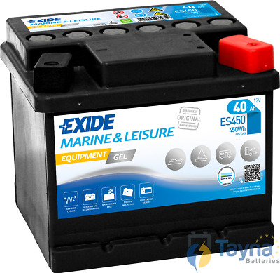 ES450 Exide G40 Marine and Multifit Gel Batterie Camping Bateau 40Ah