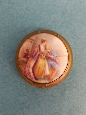 Antique Porcelain & Celluloid Pill Box Or Compact with romantic figures France