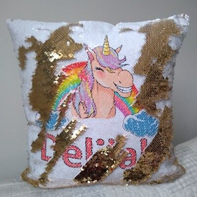 Personalised Colour Cheeky Unicorn Sequin Cushion Cover Magic Reveal
