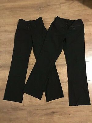 2 X Pairs Of M&S Girls Black School Trousers - Age 11 Years