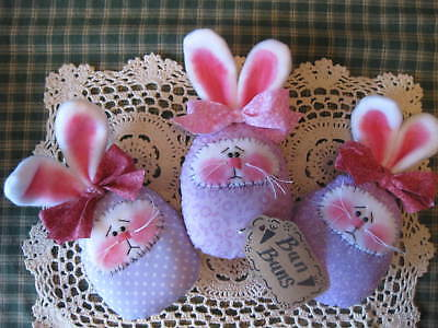 Primitive Easter egg bunnies bowl fillers, ornaments, dolls, shelf sitters lilac