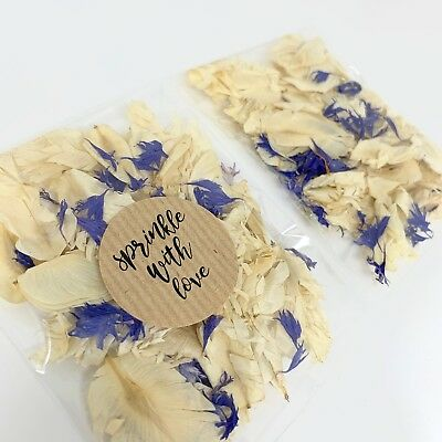 Ivory Feather Blue Cornflower Dried Biodegradable Wedding Confetti Petal Packets
