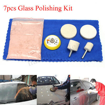 7pcs 70g Cerium Oxide Windscreen Scratch Remover Glass Polishing Kit 2'' Pad !