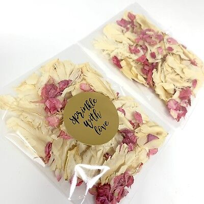 Ivory Feather Pink Raspberry Dried Biodegradable Wedding Confetti Petal Packets