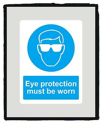 Wear eye protection Mandatory Blue Safety Sign sticker - Various Sizes