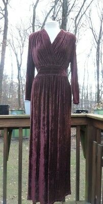 Vintage Brown Velvet Dress l Bohemian V-neck Metallic Stripe Dress l M