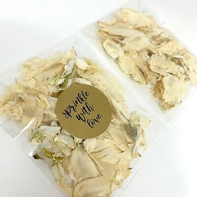 Ivory Feather White Delphinium Biodegradable Wedding Confetti Petal Packets Pack