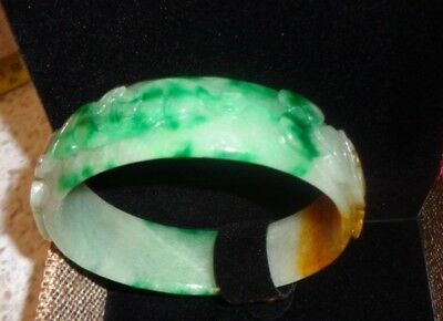 """TOP QUALITY bangle real jade Myanmar natural jadeite jewelry hand carved 3 """"wide"""