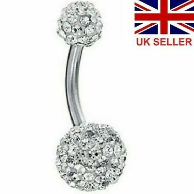 UK Shamballa Belly Button Bar Barbell Drop Dangle Body Piercing Navel Ring Bars