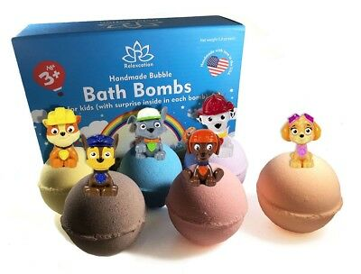 6 Bath Bombs with PAW PATROL Toys Inside for Kids – Natural & Safe Fizzies