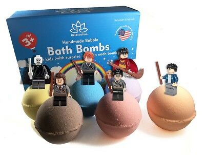 6 Bath Bombs with HARRY POTTER Toys Inside for Kids – Natural & Safe Fizzies