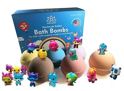 6 Bath Bombs with HATCHIMALS Toys Inside for Kids – Natural & Safe Fizzies