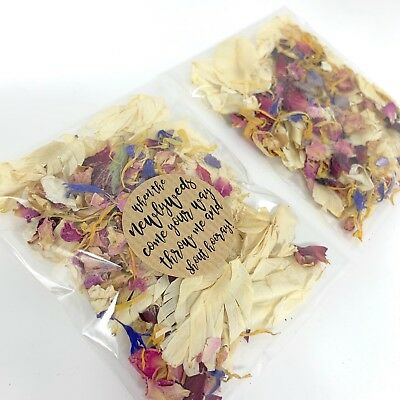 Ivory Feather Rainbow Delphinium Biodegradable Wedding Confetti Petal Packets