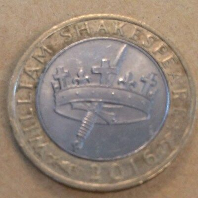 2016 William Shakespeare History's Crown and Dagger £2 Two Pound Coin.CIRCULATED