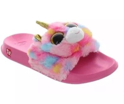 a35854eed6a YOUTH GIRLS TY Beanie Baby Boos Fantasia Unicorn Slide Slippers Size ...