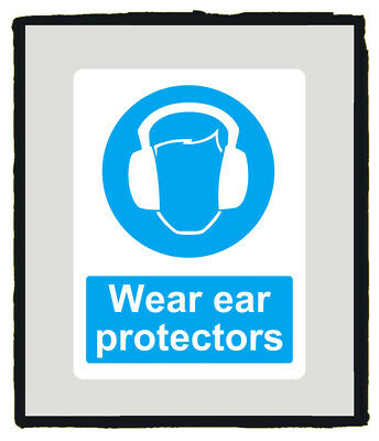 Wear ear protection Mandatory Blue Safety Sign sticker - Various Sizes