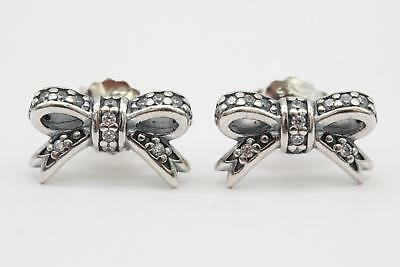 4458985d7 Pandora (290555CZ) Sterling Silver, Clear CZ, Sparkling Bow Stud Earrings  NEW