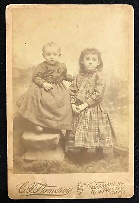 CABINET CARD Two Small Children, Boy in Dress~Pomeroy 1891, Kansas City~Sepia