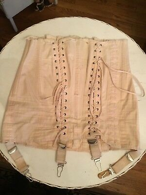 Vintage Victorian Lace Up Corset Girdle Boudoir Photography Pink