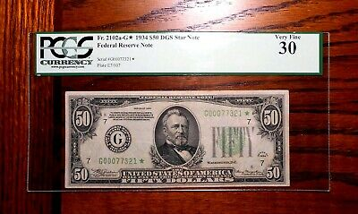 1934 $50 Federal Reserve Star Note ⭐  PCGS 30